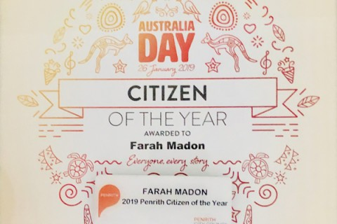 Australia Day Awards - Farah Madon awarded 2019 Penrith Citizen of the Year